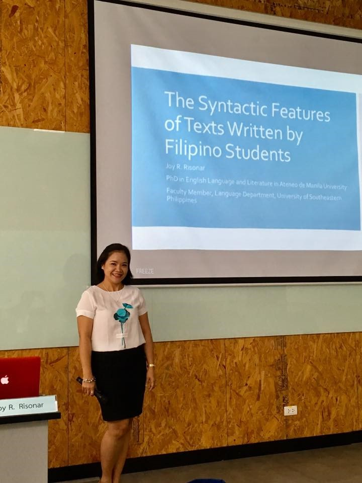 Syntactic Features of Texts of Filipino Students presented in 19th English in Southeast Asia Conference