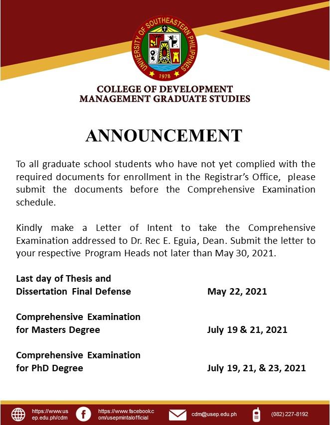 Comprehensive Exam Announcement