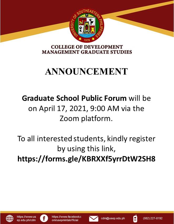 Public Forum Announcement