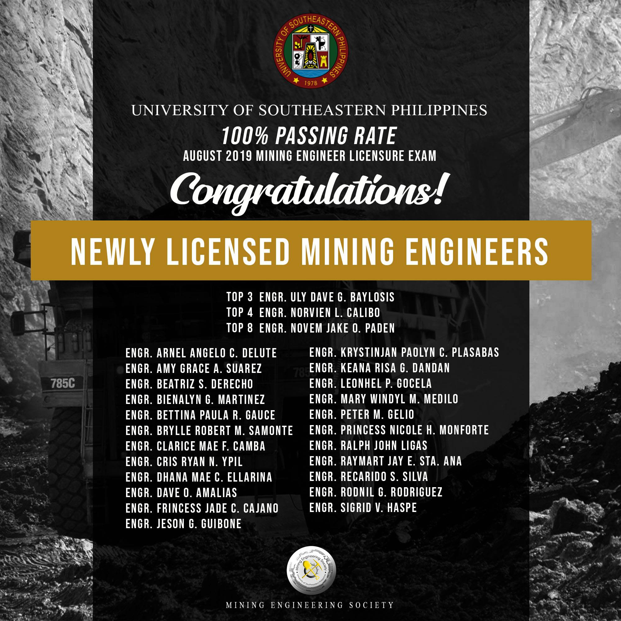 Congratulations University of Southeastern Philippines for garnerning 100% passing rate in the recently concluded Mining Engineering Board Examinations.