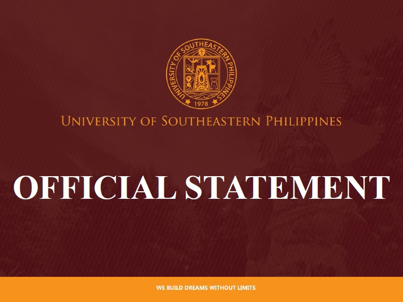 OFFICIAL STATEMENT OF THE UNIVERSITY OF SOUTHEASTERN PHILIPPINES REGARDING THE PRUNING OF TREES INSIDE THE OBRERO CAMPUS