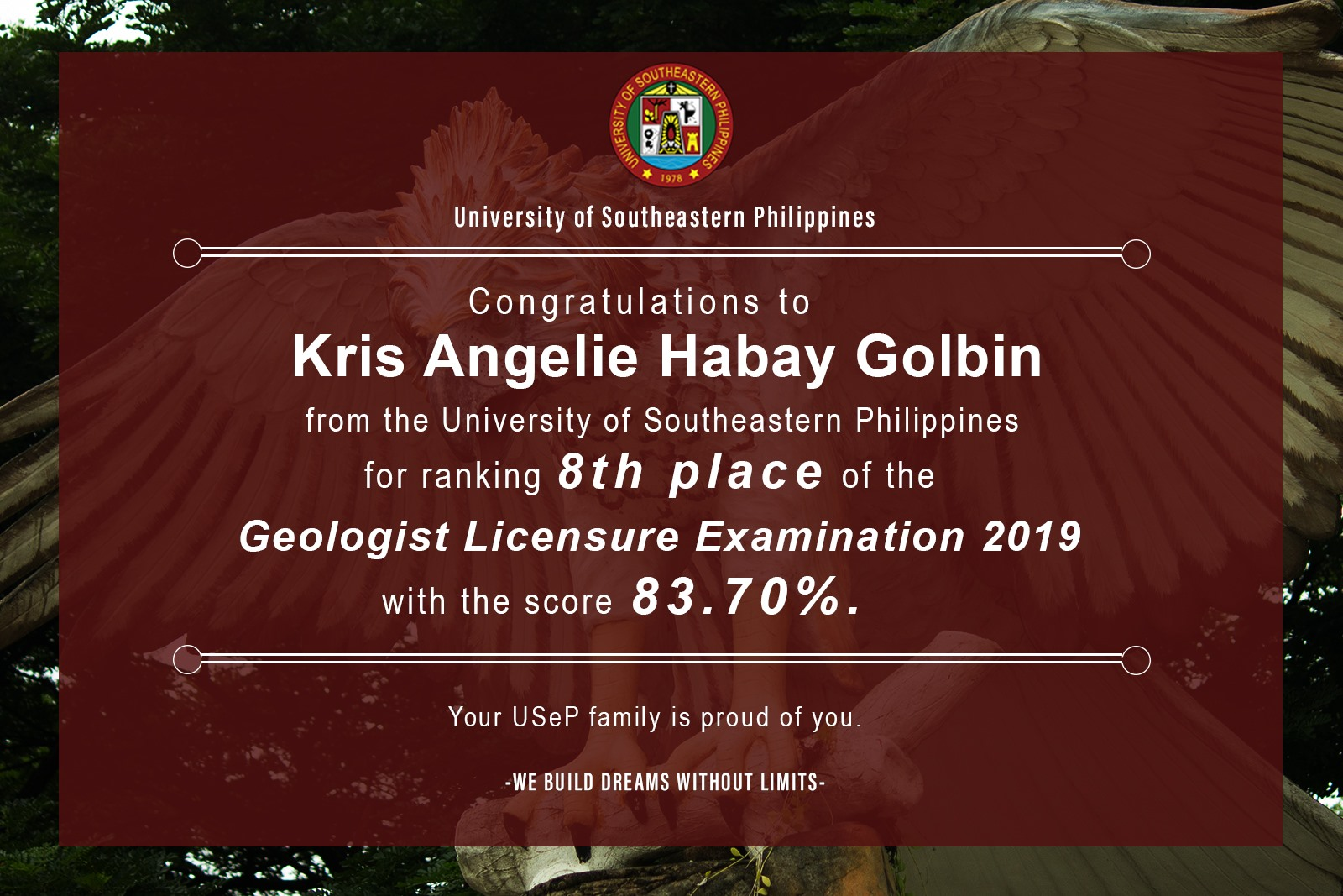 USeP ranks 8th Place in the 2019 Geologist Licensure Examination