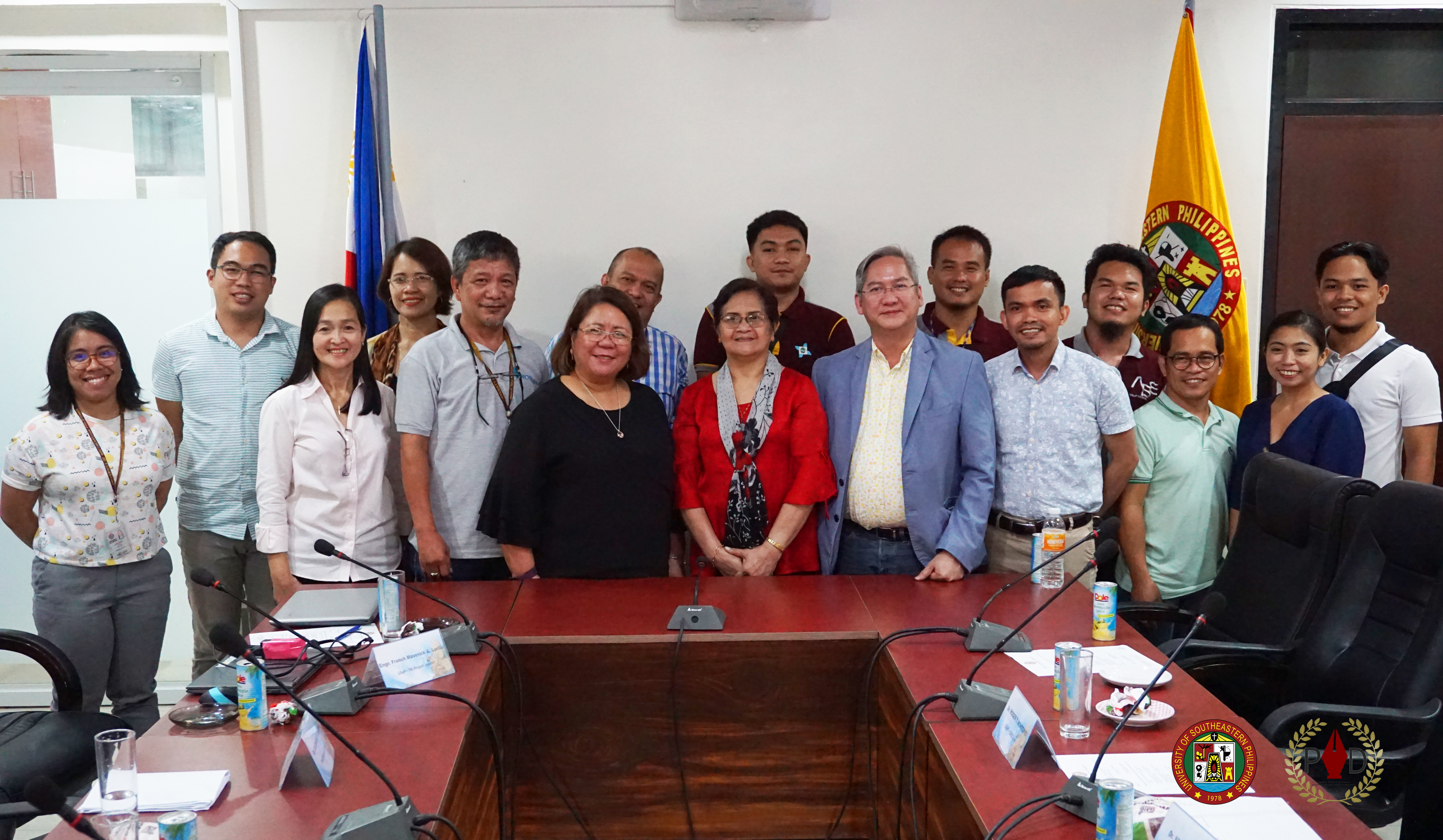 University President Lourdes Generalao, DOST Undersecretary for R&D Rowena Cristina L. Guevara, DOST XI Regional Director Anthony Sales, Assistant Regional Director for Development and Innovation Kenneth Barroga, university officials, and Lead researchers and staff of DOST-funded USeP programs and projects pose for a posterity shot after discussing updates and milestones