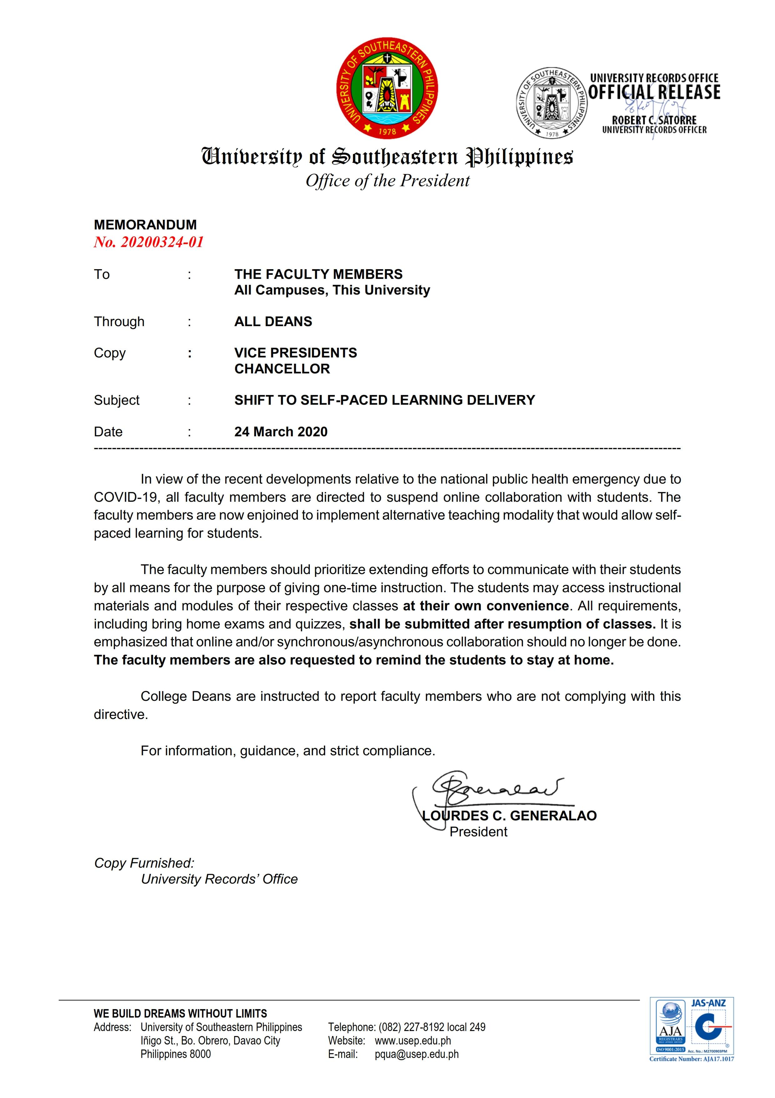 Memorandum regarding the Shift to Self-Paced Learning Delivery