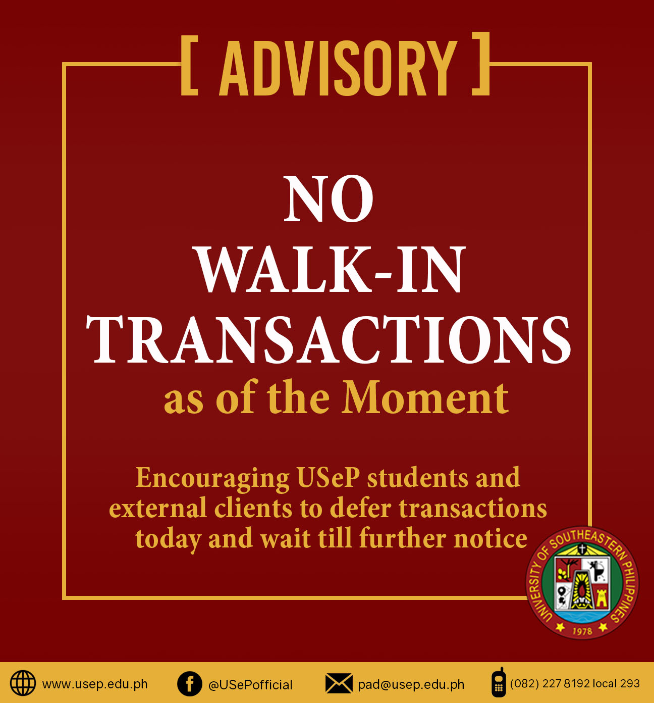 advisory-for-no-walk-in-transactions