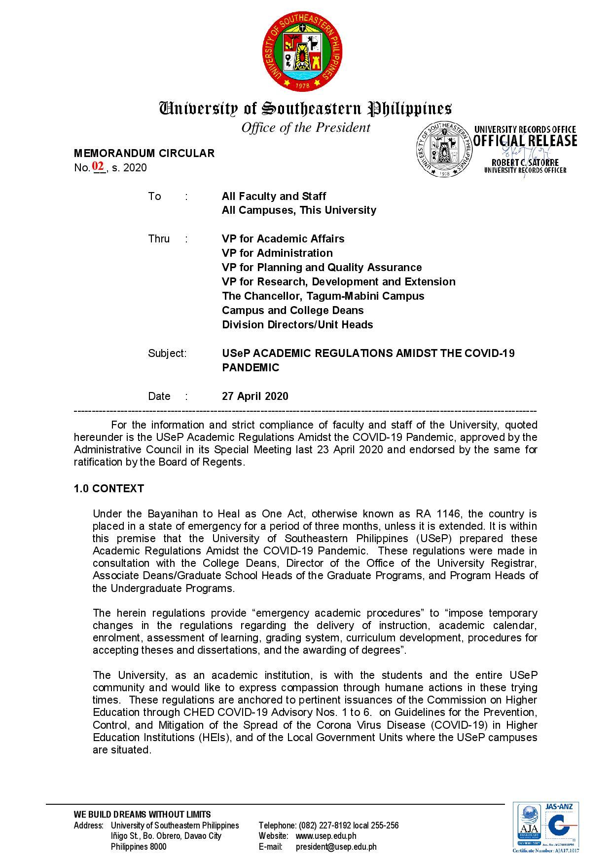 mc-02-s-2020-memorandum-circular-on-usep-academic-regulations-amidst-the-covid-19-pandemic-page-001