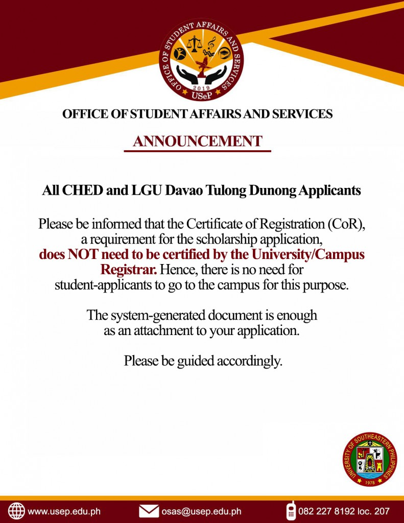 Announcements - University of Southeastern Philippines