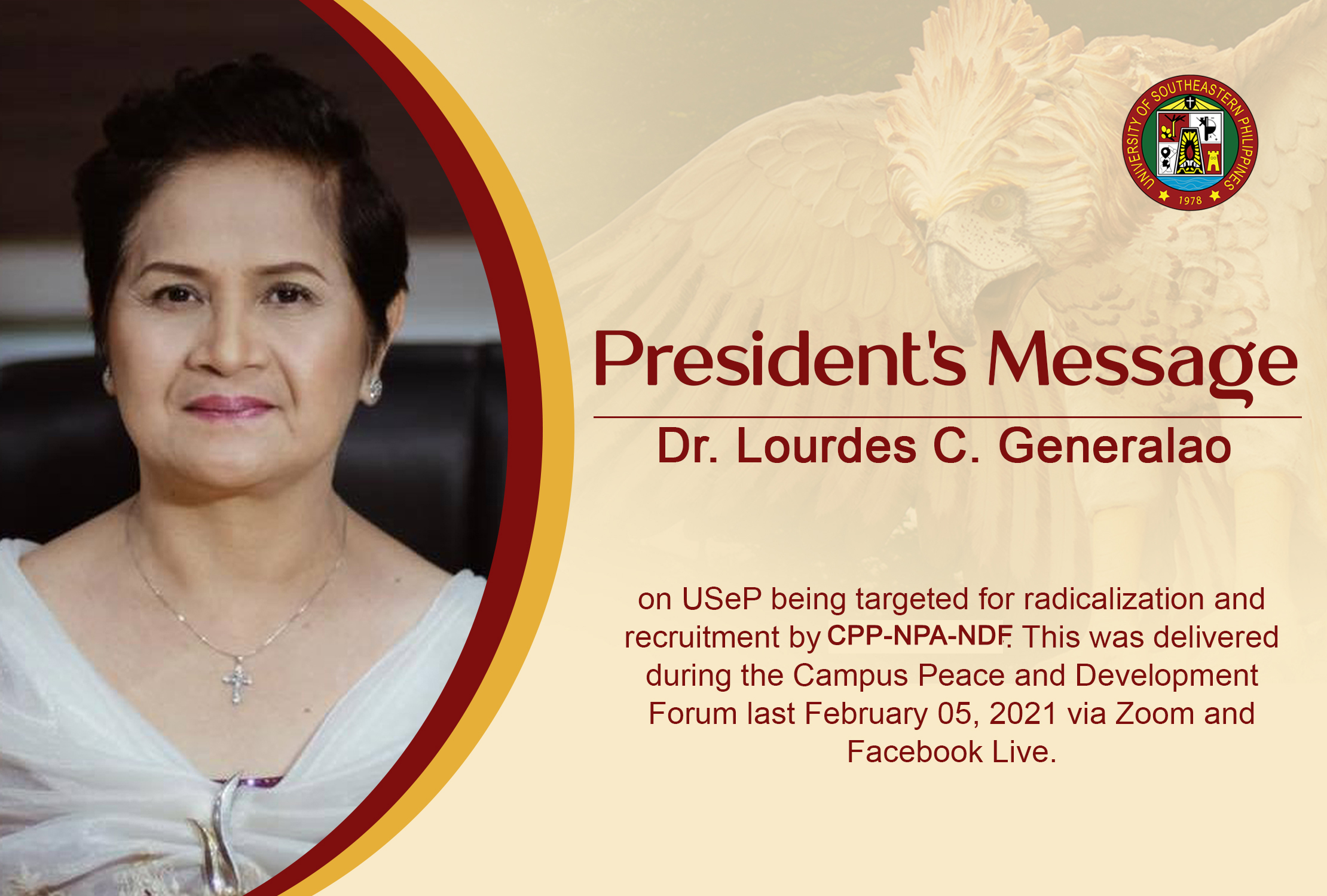 President's Message on USeP being targeted for ...